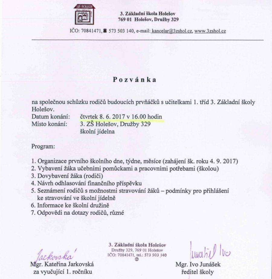 Základní škola Holešov. Pozvánka na schůzku rodičů budoucích prvňáčků 026ed46255